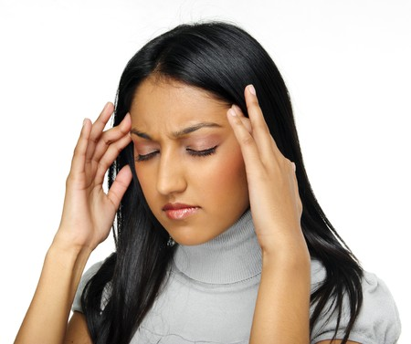 Indian beauty has a headache caused by stress