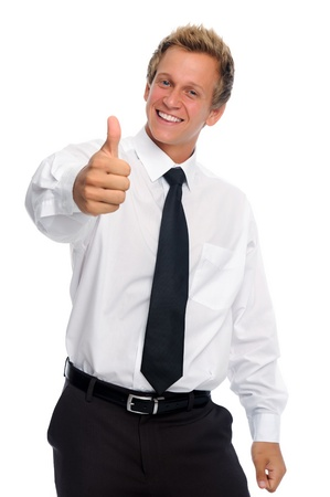 Successful professional has thumbs up in studio