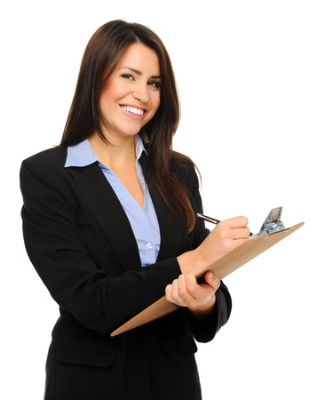 Researcher in formal business attire writes information on clipboard, isolated on white
