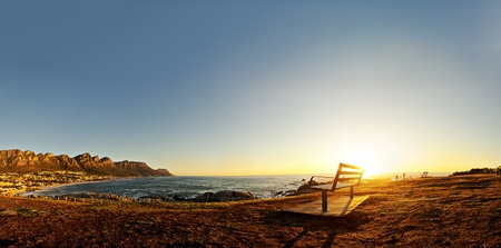 Beautiful sunset over Camps Bay in Cape Town, South Africa.