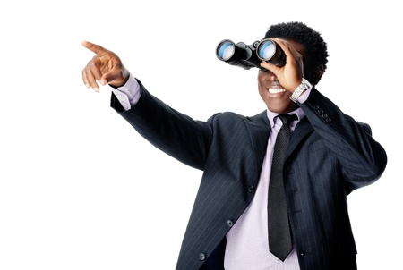 Photo pour Binocular businessman pointing and smiling isolated on white - image libre de droit