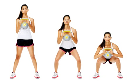 Photo for Series of kettlebell weight exercise sequence to promote strength and muscle tone, please see portfolio for more in this series. - Royalty Free Image