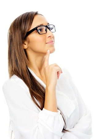 Thinking hispanic businesswoman portrait with glasses isolated on white backgroundの写真素材