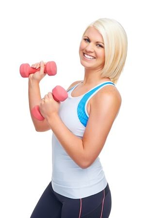 fit workout sport woman with dumbbells doing gym for healthy lifestyle