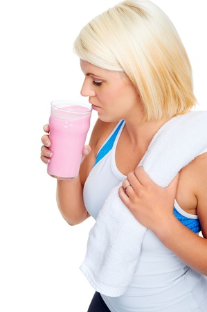 protein shake gym drinking woman strawberry flavor