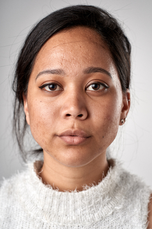 Foto de Portrait of real white caucasian woman with no expression ID or passport photo full collection of diverse face and expressions - Imagen libre de derechos