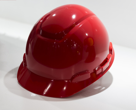 Red Safety helmet Isolated white background; Working Hard Hat;Personal Protection Equipment PPE