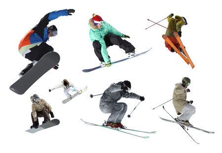 Isolated skiers and snowboarders