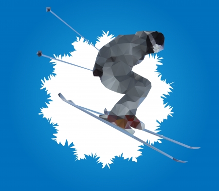 flying skier and snowflake