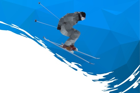 flying skier on mountains, vector
