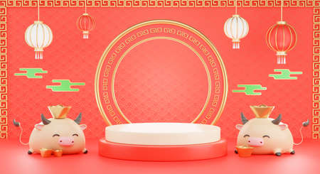 Photo for 3d render of podium chinese with ox new year 2021 for product presentration - Royalty Free Image
