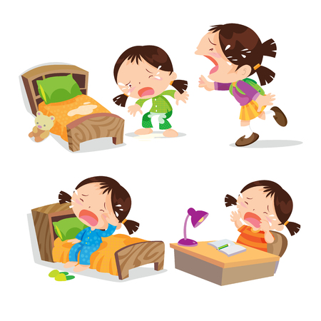 Illustration pour Vector of Cute girl cartoon crying  many action on events. - image libre de droit