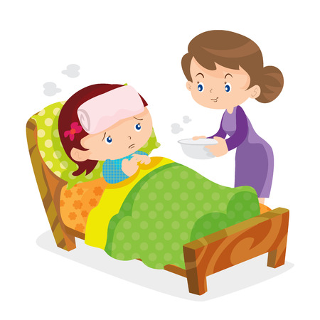 Illustration pour Mother taking the temperature of sick daughter at home in the bedroom - image libre de droit