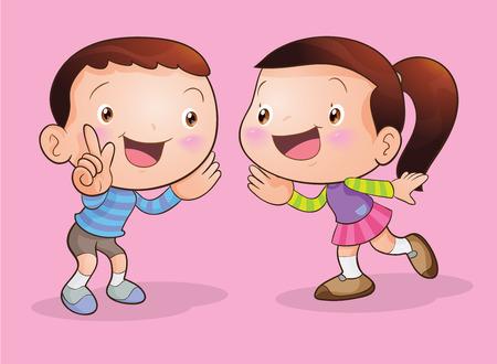 Illustration pour Cute girl  talking and Boy listening her - image libre de droit