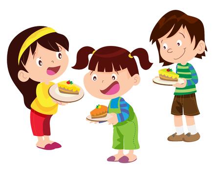 Vektor für Vectoe of Children have a cake and will eat it - Lizenzfreies Bild