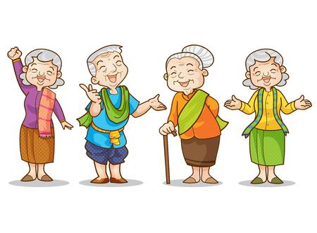 Ilustración de Funny illustration of old man and woman  in traditional costume cartoon character set. - Imagen libre de derechos