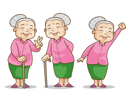 Illustration pour Funny illustration of old woman cartoon character set. Isolated vector illustration. - image libre de droit
