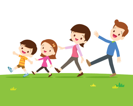 Photo pour A Happy Family With Two Children Walking In A Line Isolated On sward.Dad son mom daughter are walking so happy. - image libre de droit