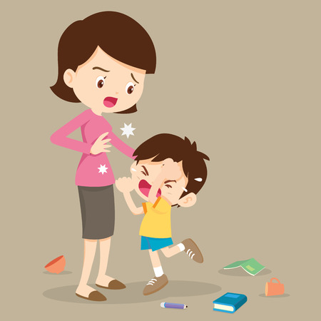 Illustration pour angry boy hitting him mother.Little angry boy crying and hitting mom. - image libre de droit