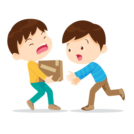 Illustration for Boys help lifting heavy.Young have kindness.The boy needs help.Boy help his partner to carry heavy stack of box.Carrying a heavy load. - Royalty Free Image