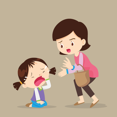 Illustration pour Cute girl crying and Her Mom Comforting Upset.cartoon vector illustration. - image libre de droit