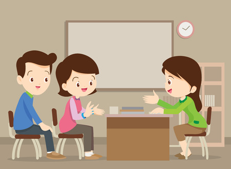 Illustration for Parent meeting with teacher in classroom. - Royalty Free Image
