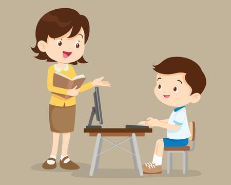 Illustration pour teacher and student boy learning computer. - image libre de droit