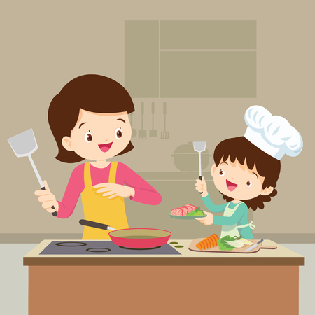 Illustration for Happy family with mom and daughter cooking in kitchen vector cartoon illustration. - Royalty Free Image