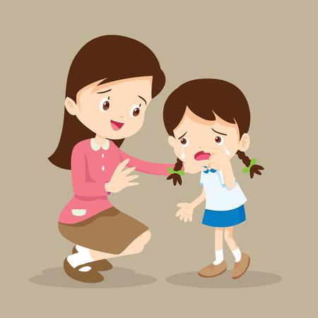 Illustration for Teacher Comforting Upset Elementary School Pupil.teacher comforting crying preschool girl. - Royalty Free Image