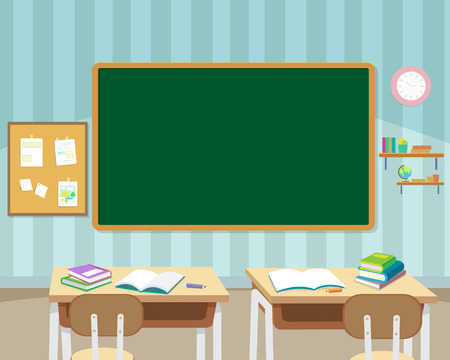 Illustration pour back to school with chalkboard and books background template.Can be used for web banner, backdrop, ad, promotion. - image libre de droit