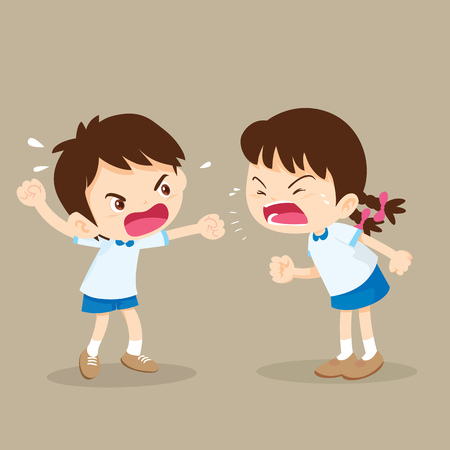 Illustration for Children shouting to each other.boy and girl arguing. - Royalty Free Image