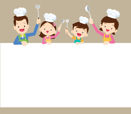 Cute Family Cooking Meal Menu Poster Banner Template Dad Mom Daughter Son Enjoys With Vegetables Background Royalty Free Vector Graphics