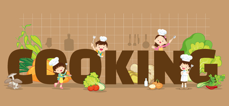 Illustration for Cooking concept illustration of Little Chef Boy and Girl various actions with elements ,vegetable,kitchenware around big Letter. - Royalty Free Image