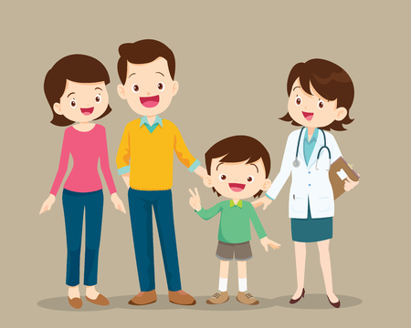 Illustration for Cute family visiting the doctor. Vector illustration of a dad, mom and son in doctor's office. - Royalty Free Image