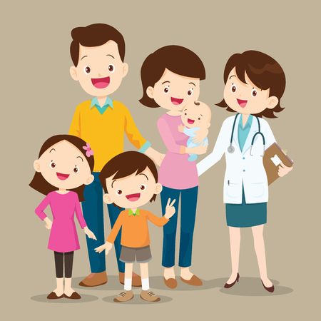 Illustration pour Cute family visiting the doctor. Vector illustration of a dad ,mom ,daughter,son and baby meet the doctor. - image libre de droit