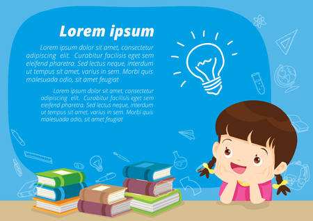 Illustration for Girl thinking idea and books. Cute kid imagine in classroom with space for your text. Education concept with books background template.for web banner, backdrop, ad,promotion poster. - Royalty Free Image