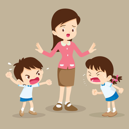 Illustration for angry child.teacher tried to stop the children shouting to each other.boy and girl arguing. - Royalty Free Image