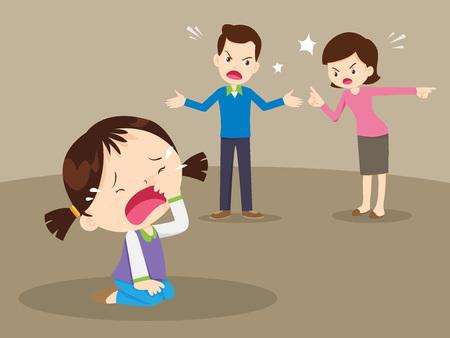 Illustration pour husband and wife quarreling.Parents quarrel and child listen. Family conflict.  - image libre de droit
