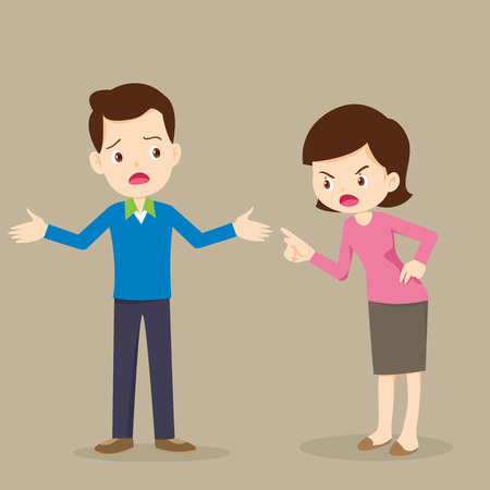 Illustration pour Angry woman scolds to man characters.husband and wife quarreling.Parents quarrel  - image libre de droit
