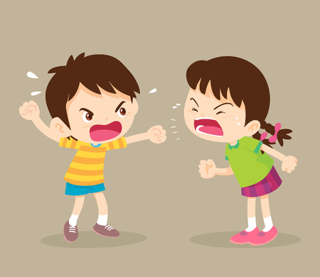 Illustration for angry child.children shouting to each other.boy and girl arguing. - Royalty Free Image