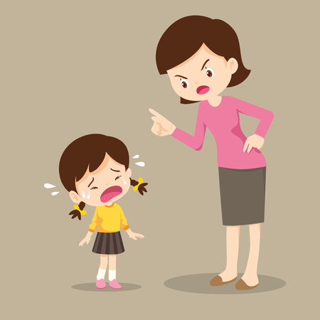 Illustration for mother is scolding her Daughter and the Girl cry so sad.boy feeling guilty - Royalty Free Image