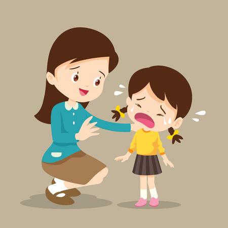 Illustration for Teacher Comforting Upset Elementary School Pupil.teacher comforting crying preschool Girl.sad children wants to embrace - Royalty Free Image