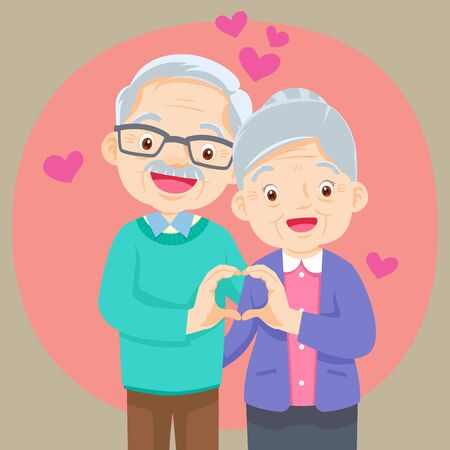 Illustration pour Elderly couple holding hands  make shape of heart.Grandmother and grandfather together. Grandparents. Elderly couple. A man and a woman of old age. hand heart shape - image libre de droit