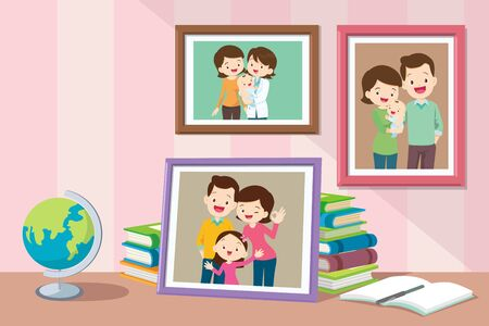 Illustration pour Photos of daughters from infants growing up with parents.Collection of photos of family members in frames. Bundle of framed wall pictures or photographs with smiling people. - image libre de droit