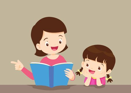 Illustration for mother reading a book to her daughter.The daughter listened to the mother, reading the book intently. - Royalty Free Image
