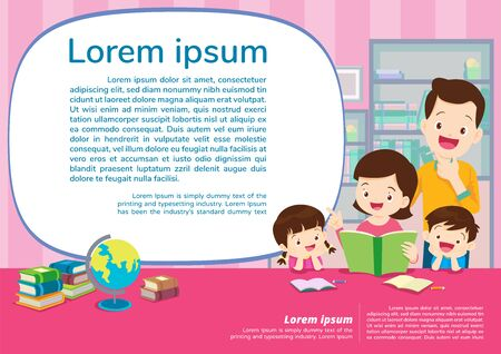 Illustration for Education and learning,family and children thinking idea.Education concept with Family background template.for web banner, backdrop, ad, promotion poster. - Royalty Free Image