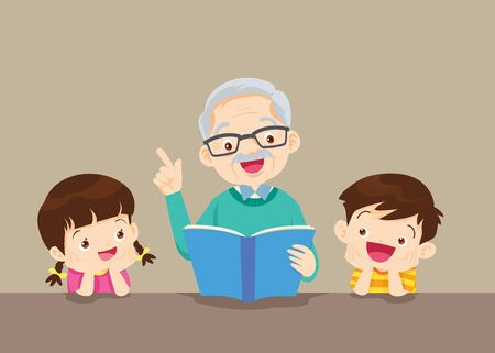 Illustration for Grandfather is Reading  Book to Him Grandchildren - Royalty Free Image