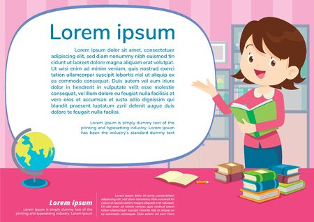Illustration for teacher and student learning poster,Education and learning poster back to school template., school activities. - Royalty Free Image