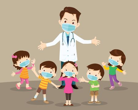 Ilustración de Doctor and children wear a medical face mask with copy space.Doctor and kids wearing protective Medical mask from virus. - Imagen libre de derechos
