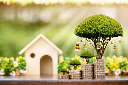 Photo pour Wooden home and stacked coin and a golden money bag of tree with grow value on sunlight in the public park, Saving or investment for buy a real estate and house concept. - image libre de droit